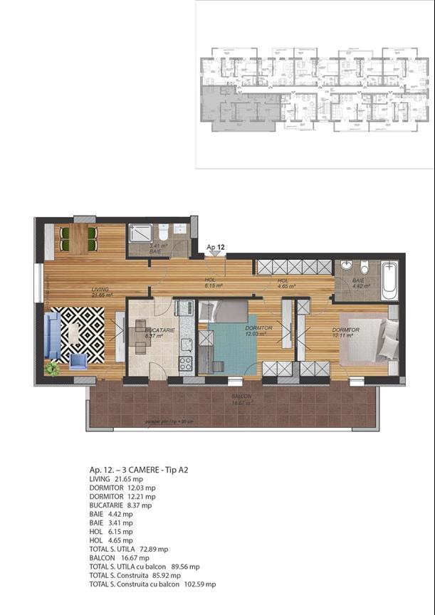 Apartament exceptional,decomandat,suprafata utila de 90 mp
