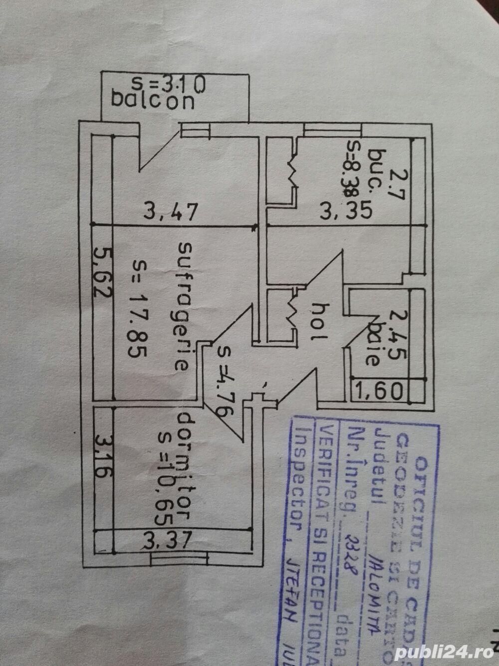 Apartament 2 camere, etaj 3 din 4 confort 1 decomandat, Urziceni, jud. Ialomita
