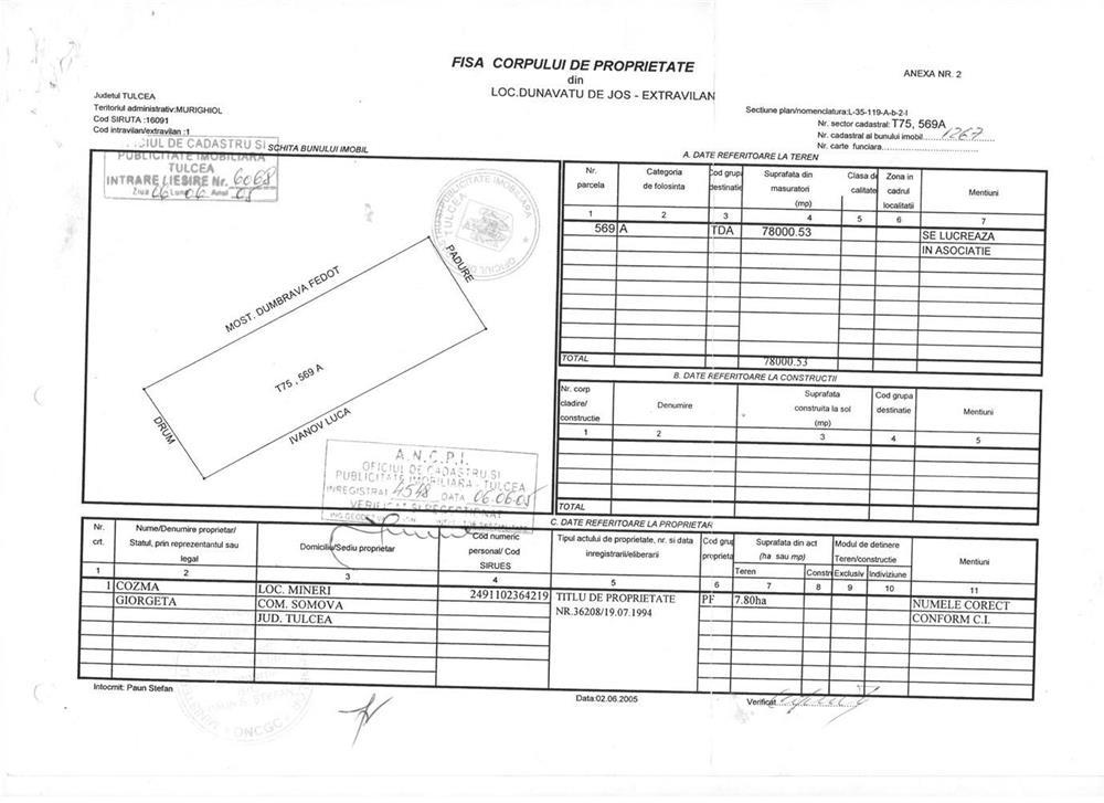 Vanzare  terenuri constructii  40 ha Tulcea, Murighiol  - 160000 EURO
