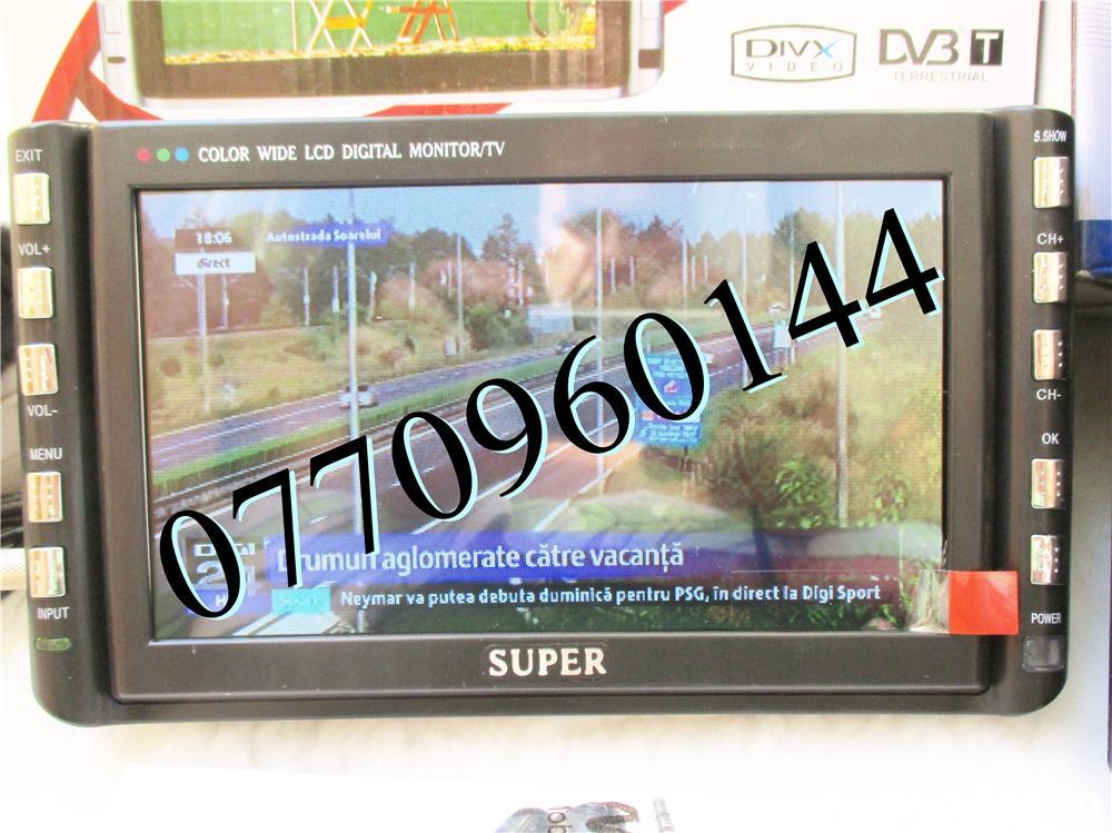 Televizor auto 12V 220V USB 18 cm Color, slot de card  si USB, priza 220V si adaptor pentru
