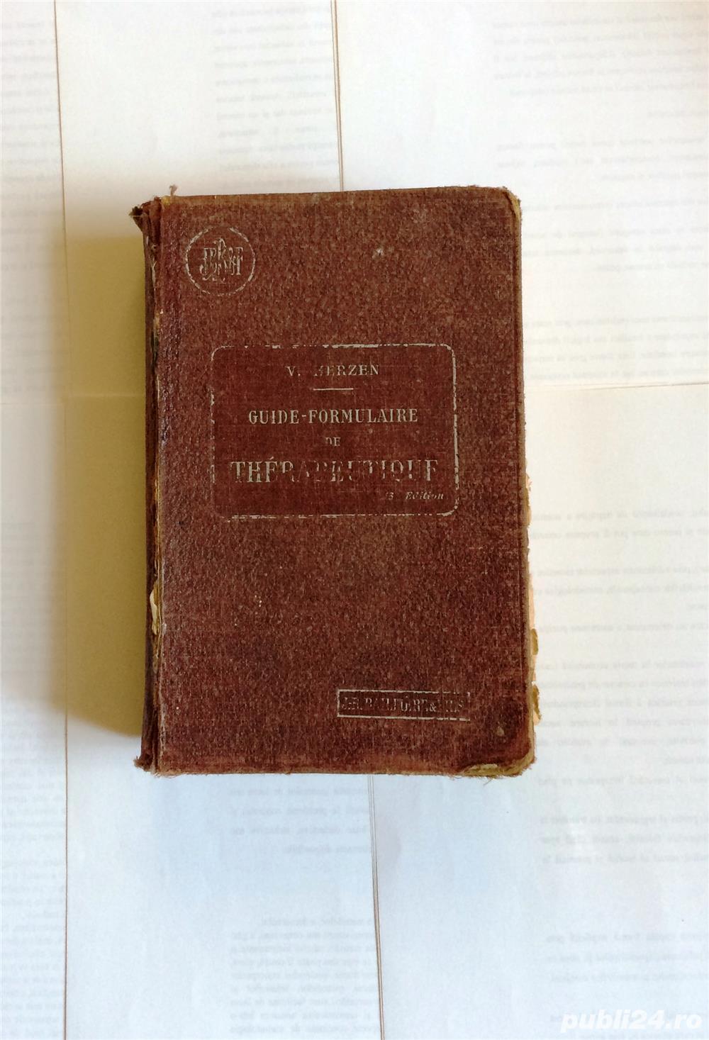 guide-formulaire de terapeutique cartonata de le dr v herzen librairie j b bailliere et fils 1927