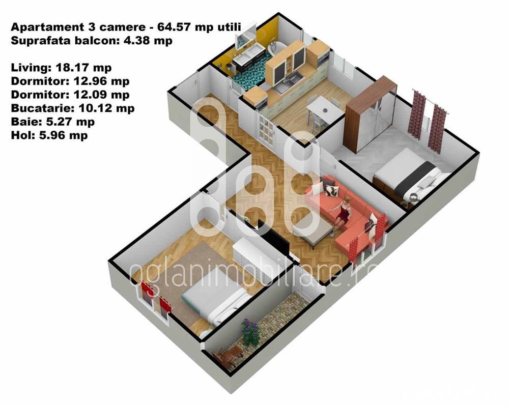 Apartament 3 camere cu gradina, Calea Cisnadiei