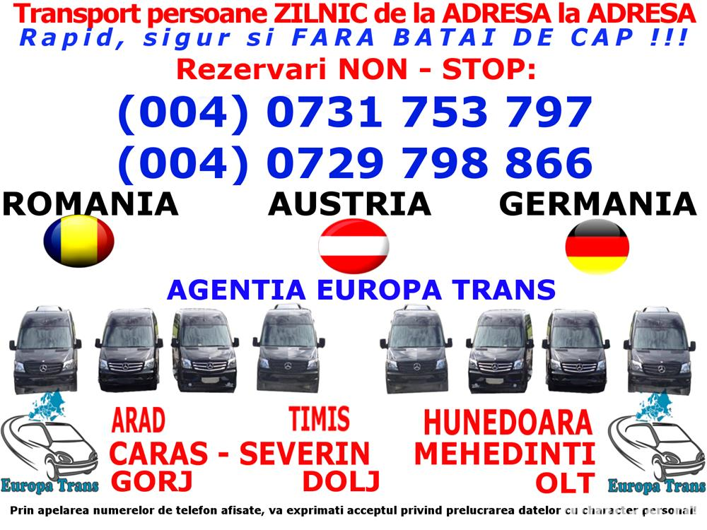 Zilnic Transport persoane Baile Herculane Mehadia Austria Germania Romania de la adresa la adresa