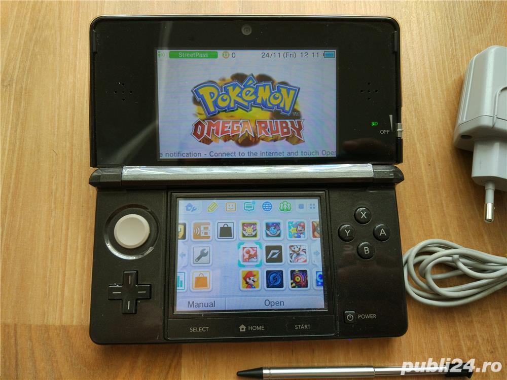 Consola Nintendo 3ds, modata, card 32gb, Pokemon Moon + Super Mario - 20 jocuri