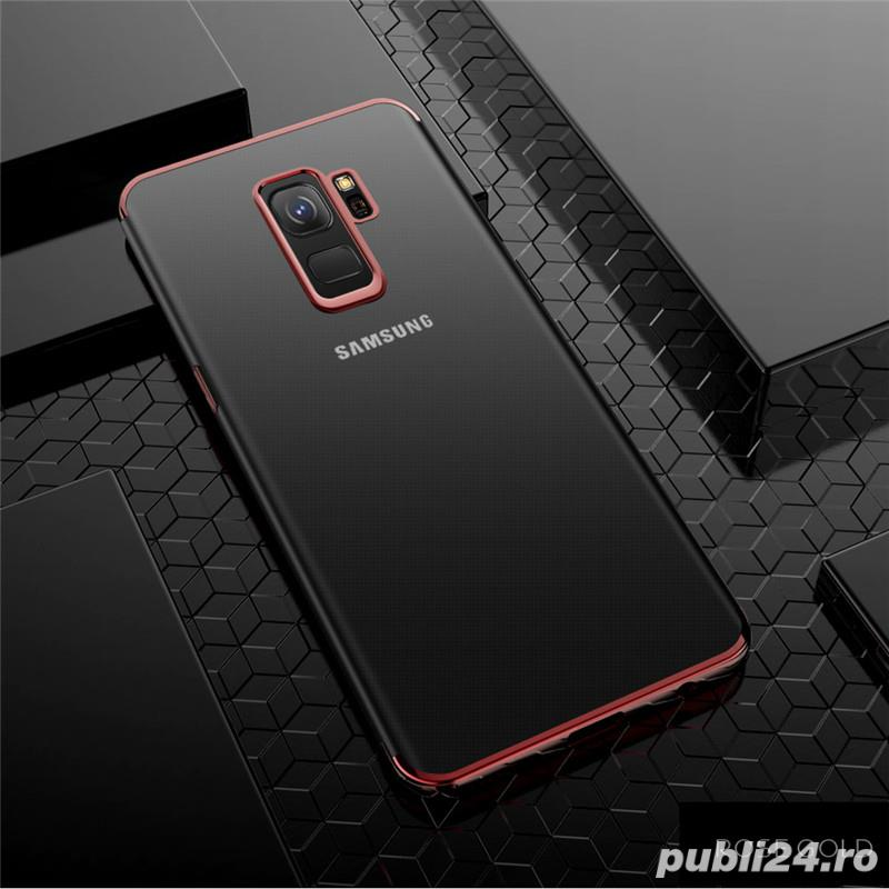 Husa Samsung S9 plus, silicon, anti-amprenta, transparent si roz, GD820