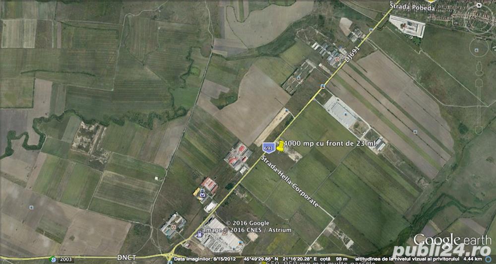 De vanzare teren pentru hala,  P+2E, POT 55%,  situat la 120 m de soseaua judeteana
