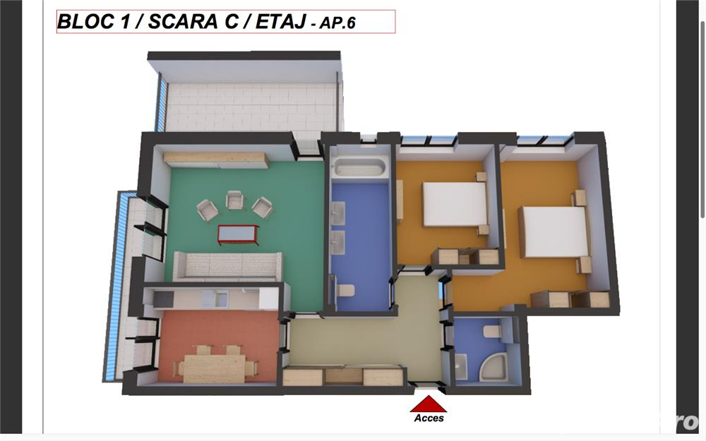 Dezvoltator, 3 camere 80,20 mp. utili cu terasa de 13,50 mp.