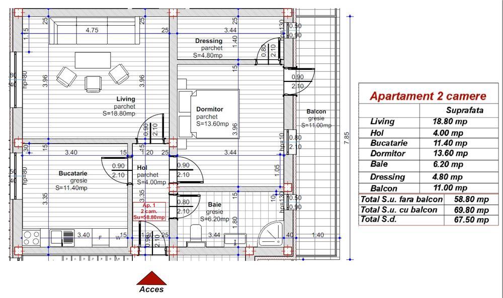 Dezvoltator apart 2 cam conf 1 la alb 59+11mp Turnisor