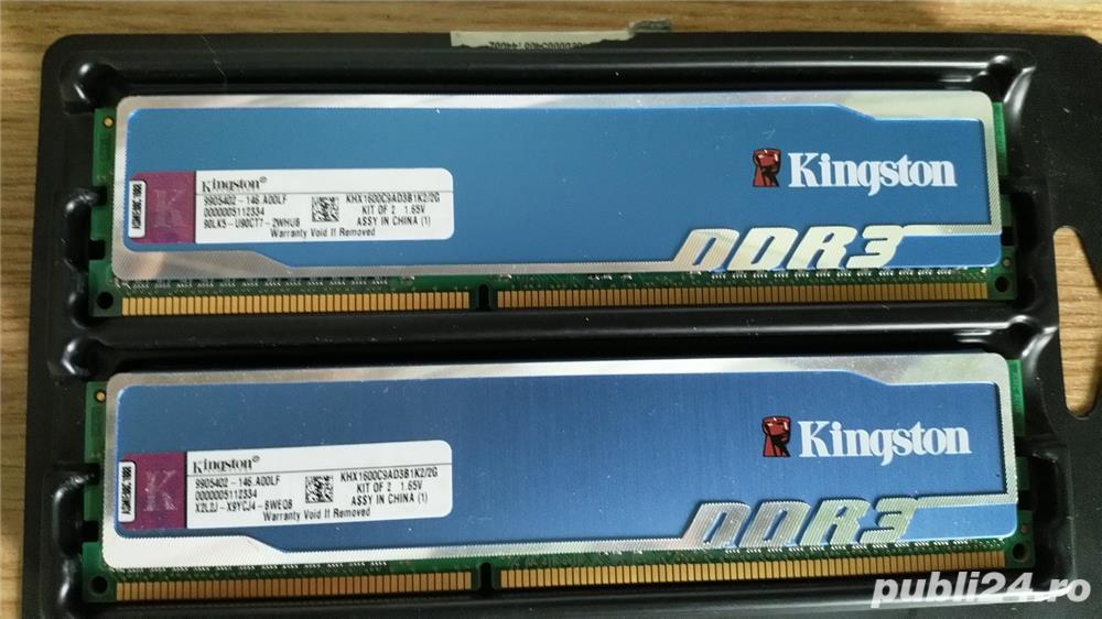 RAM DDR3 Kingston HyperX Blu KHX, kit 2x1 GB 1600 MHz, CL9, 1,65V