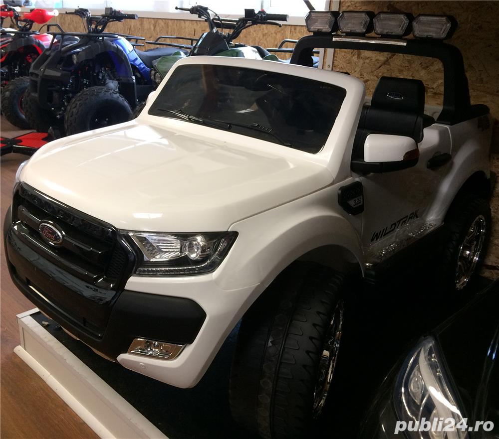 Kinderauto Ford Ranger (Modelul NOU) 2x 35W 12V, USB, 2xLocuri, 2xUsi #ALB