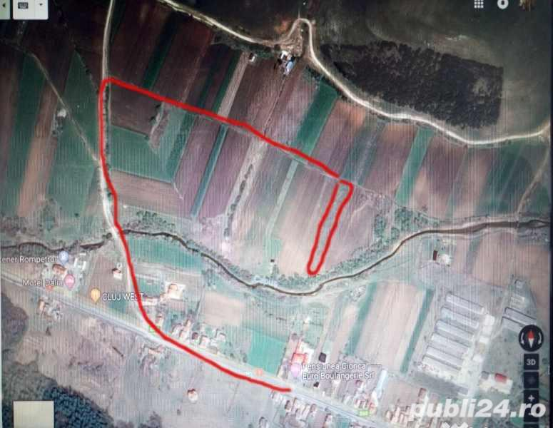Teren 2400 mp in gilau langa Cluj Napoca  la 300 mp de drumul principal. 9 euro mp
