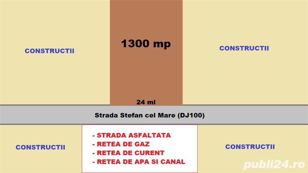 Teren intravilan 1300 mp des. 23 ml la str. Ștefan cel Mare