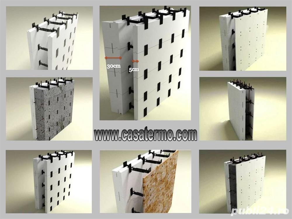 Cofraje din polistiren cu element de legatura reglabila pentru constructii,pretul de la 14 eur. m/p.