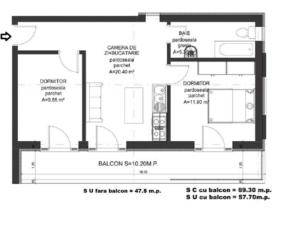 Dezvoltator apart 3 cam intabulat la alb la vila 48+10mp Cl Cisnadiei