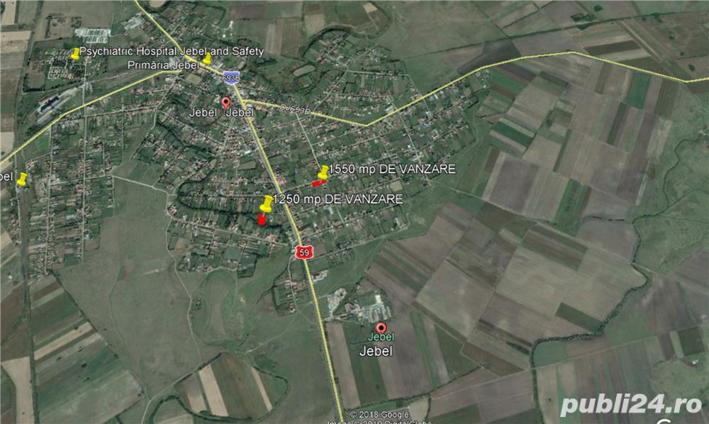 Proprietar vind teren intravilan la jebel 25 km de timisoara, 1250 mp , 15000 eur , negociabil