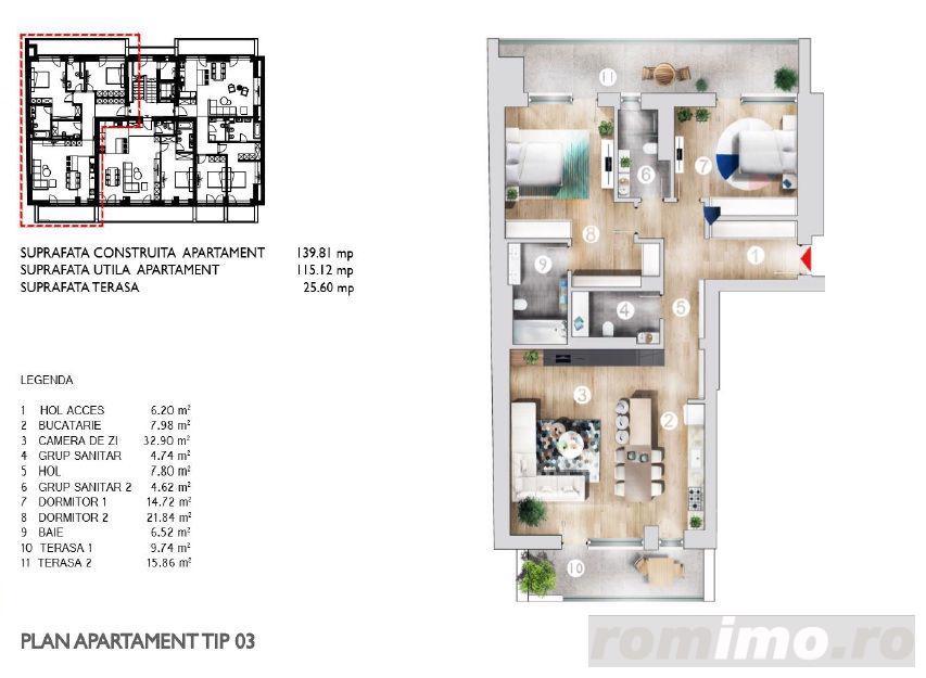 Apartament 3 Camere  Etaj 1  în zona Kiseleff  Bloc 2017