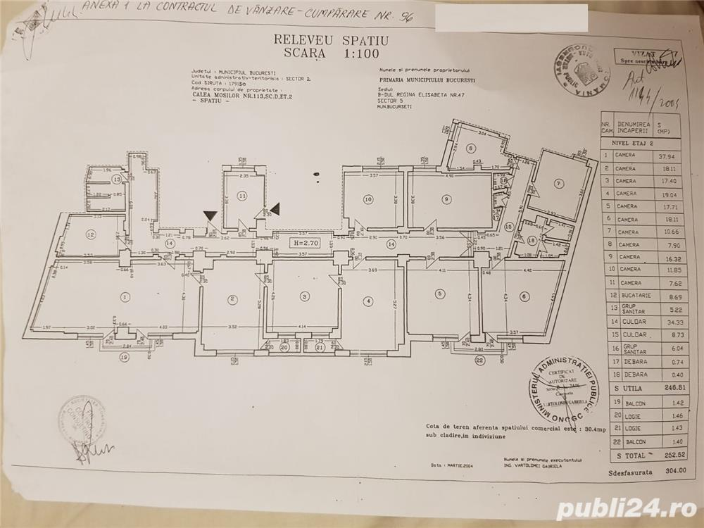 Spatiu Comercial/Birouri Universitate Carol Mosilor 12 camere 720 E m2 304m2 renovat
