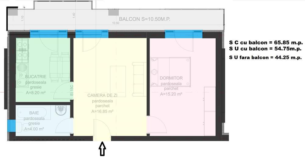 Dezvoltator apart 2 cam intabulat conf 1 supraf 45mp +11mp  etaj 2 la alb Cl.Cisnadiei
