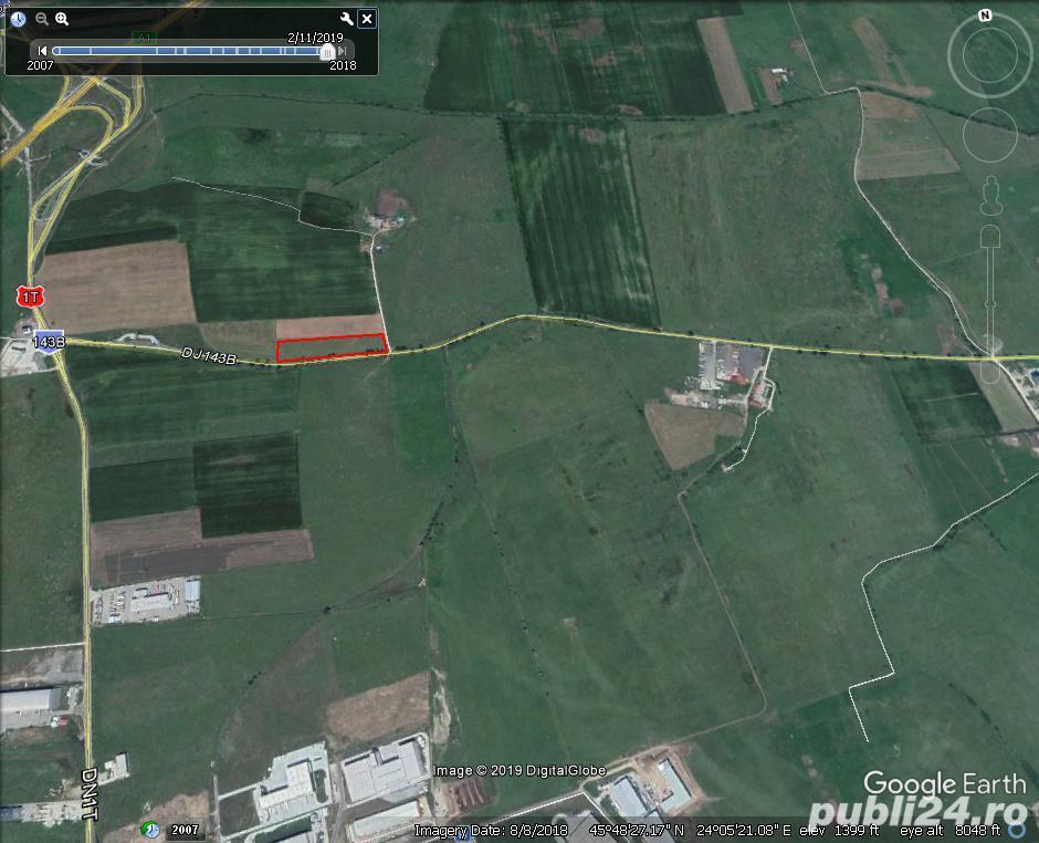 Vand teren arabil cu o mare deschidere la Calea Surii Mici 250 m