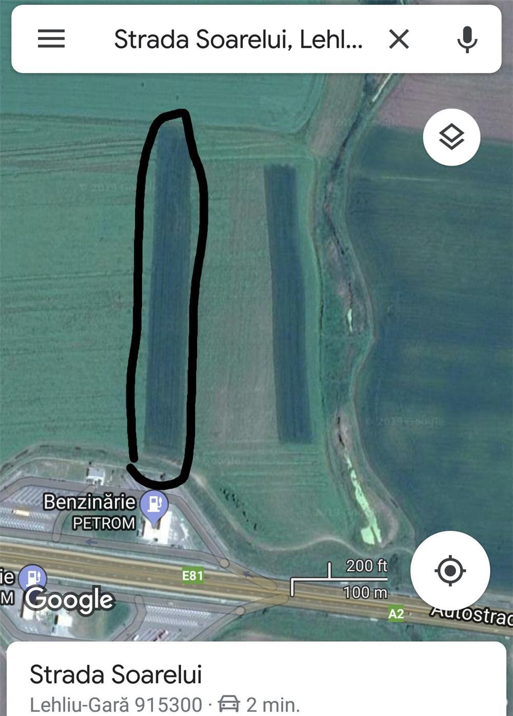 Vând teren extravilan lângă Autostrada A2
