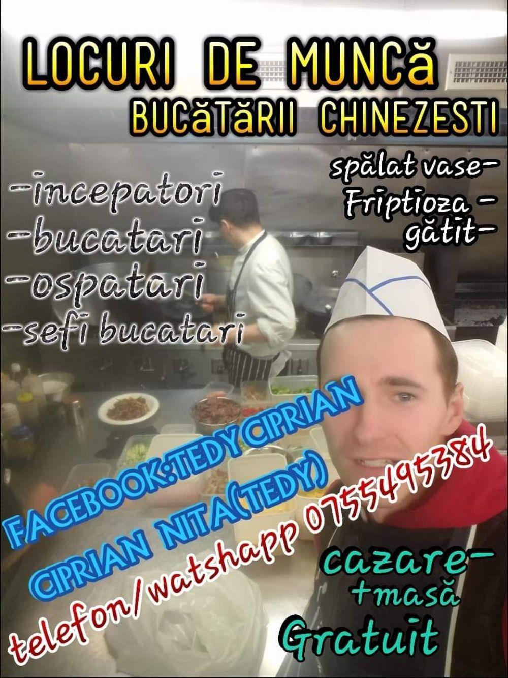 Locuri de munca in Anglia bucătării chinezești