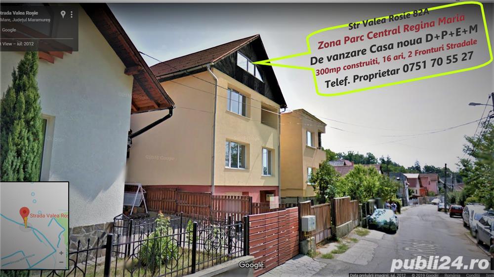 Parc Central, Valea Rosie, casa noua de vanzare D+P+E+M 300mp, 16 ari si doua fronturi stradale