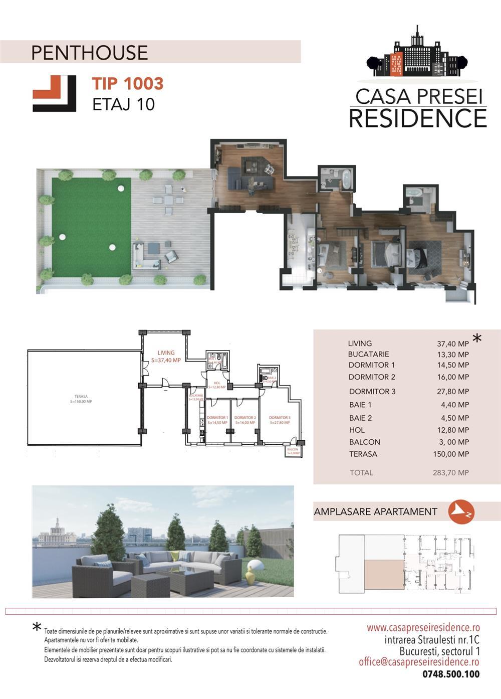 Penthouse deosebit Casa Presei Residence