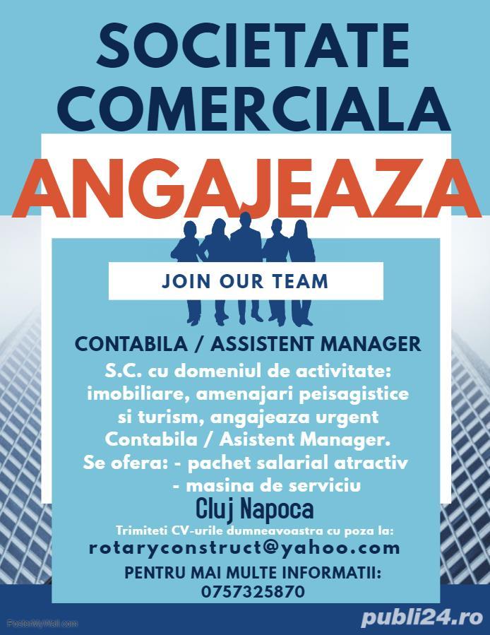 Societate Comerciala, angajeaza Contabila/Assistent Manager