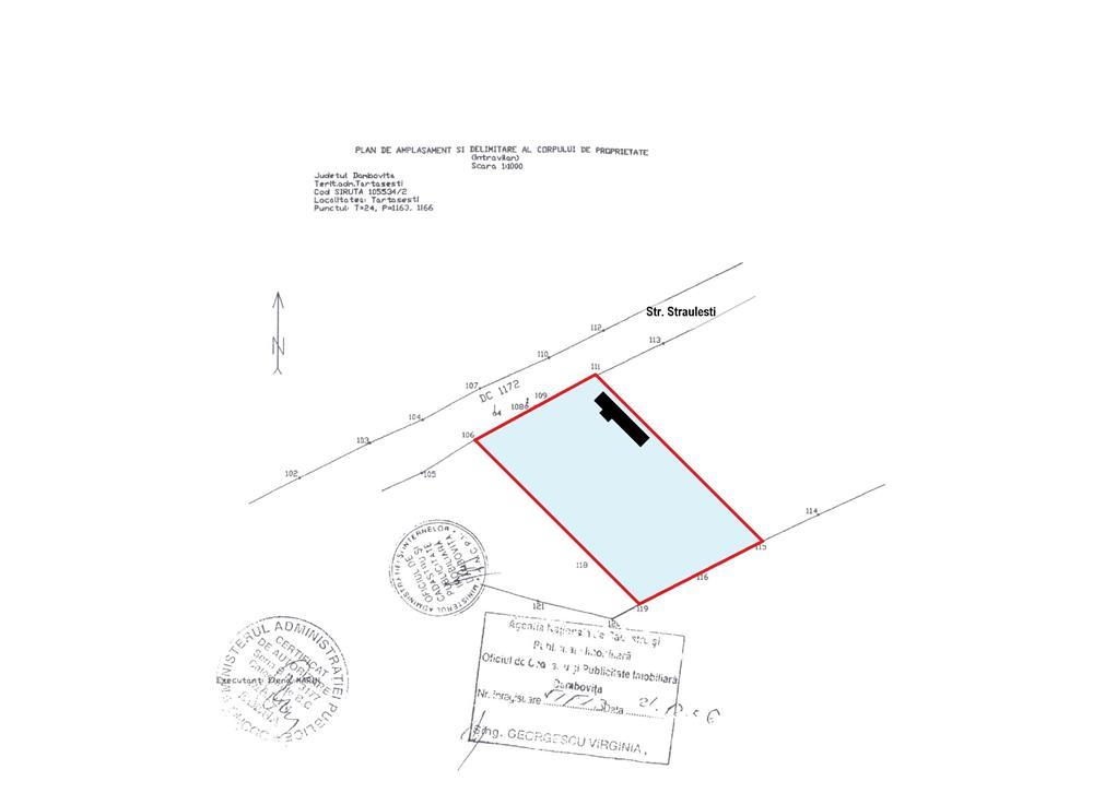 TARTASESTI - Baldana, vanzare 2.700 mp. teren intravilan, stradal ( intre case ) cu utilitati