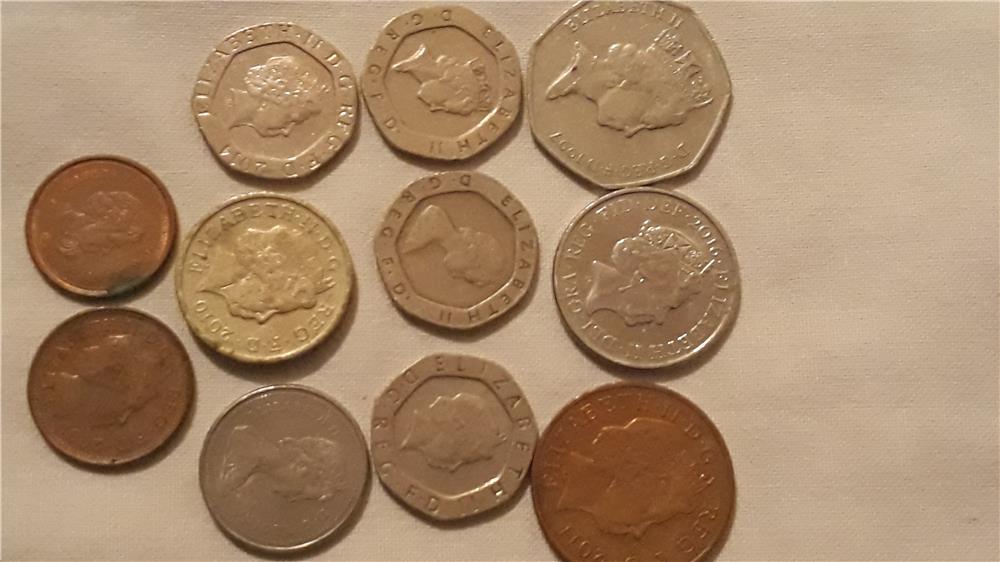 Schimb pence sterling,penny în bancnotă de £