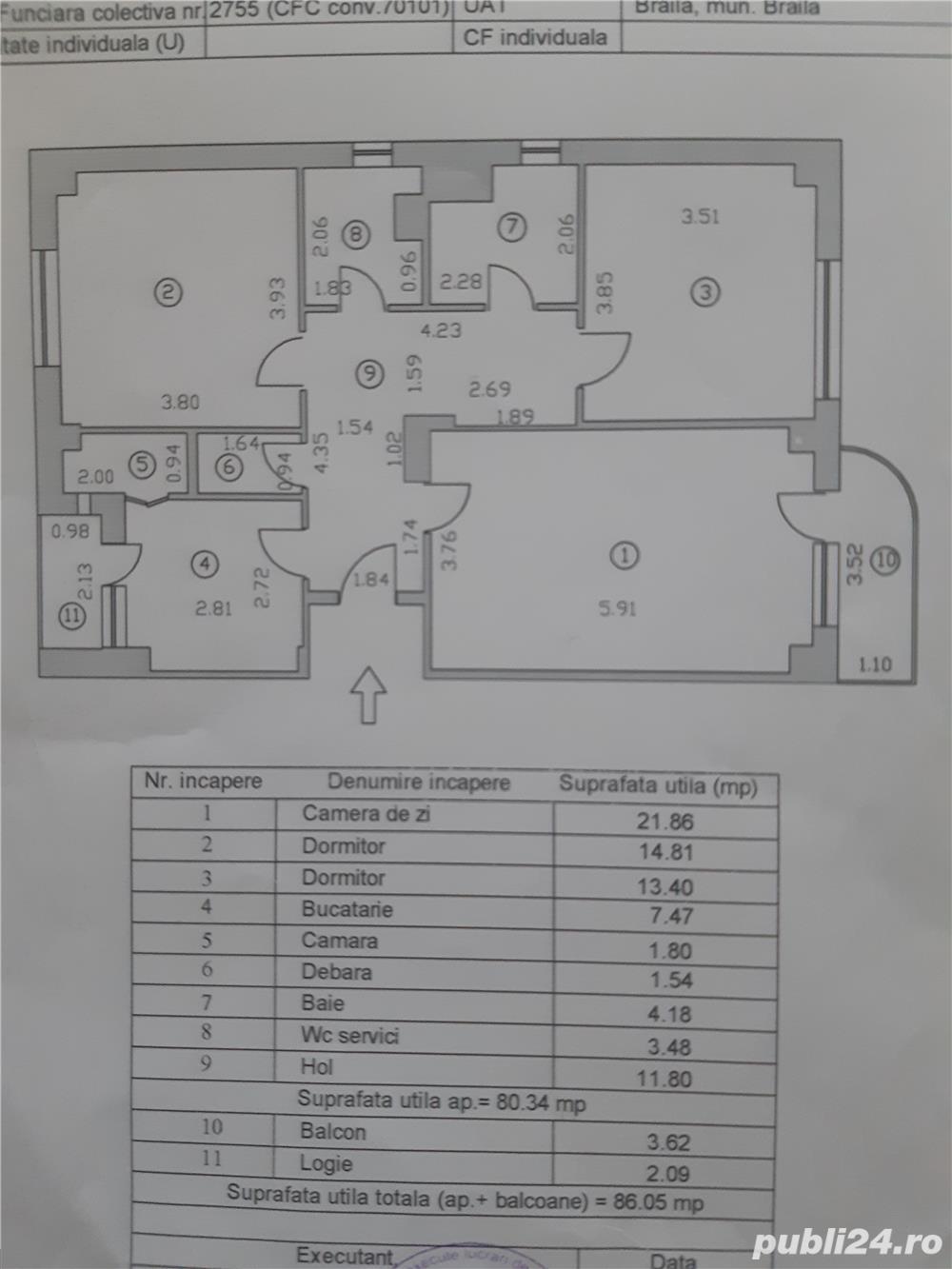 Vand apartament 3 camere , Zona piata halelor, Magazin ZANFIR