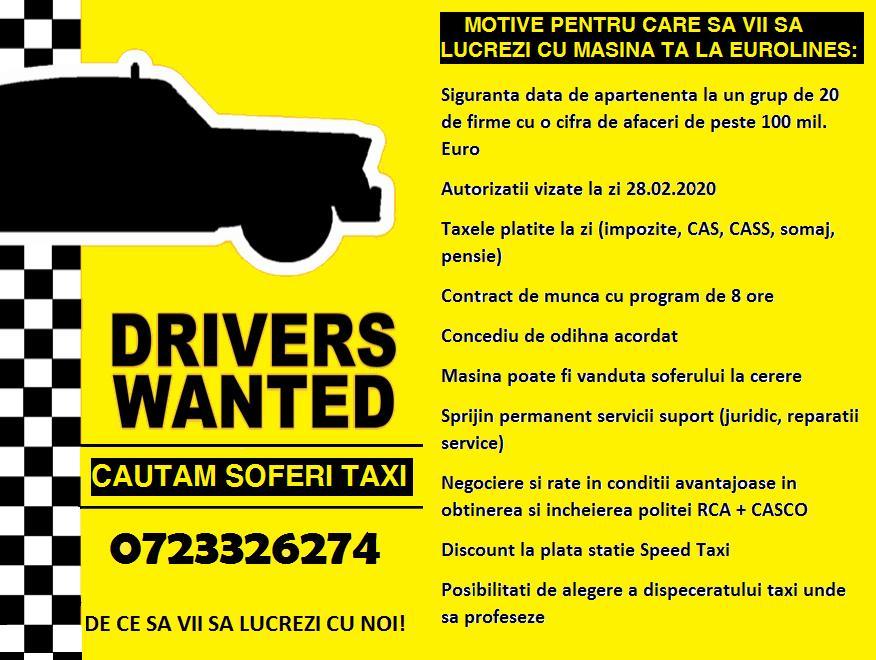 Sofer taxi/Devino antreprenor / inchiriere/cesionare autorizatie taxi de Bucuresti