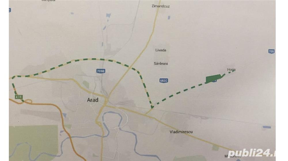 Vand teren intravilan la intrare in Horia jud Arad suprafata 59 Ha