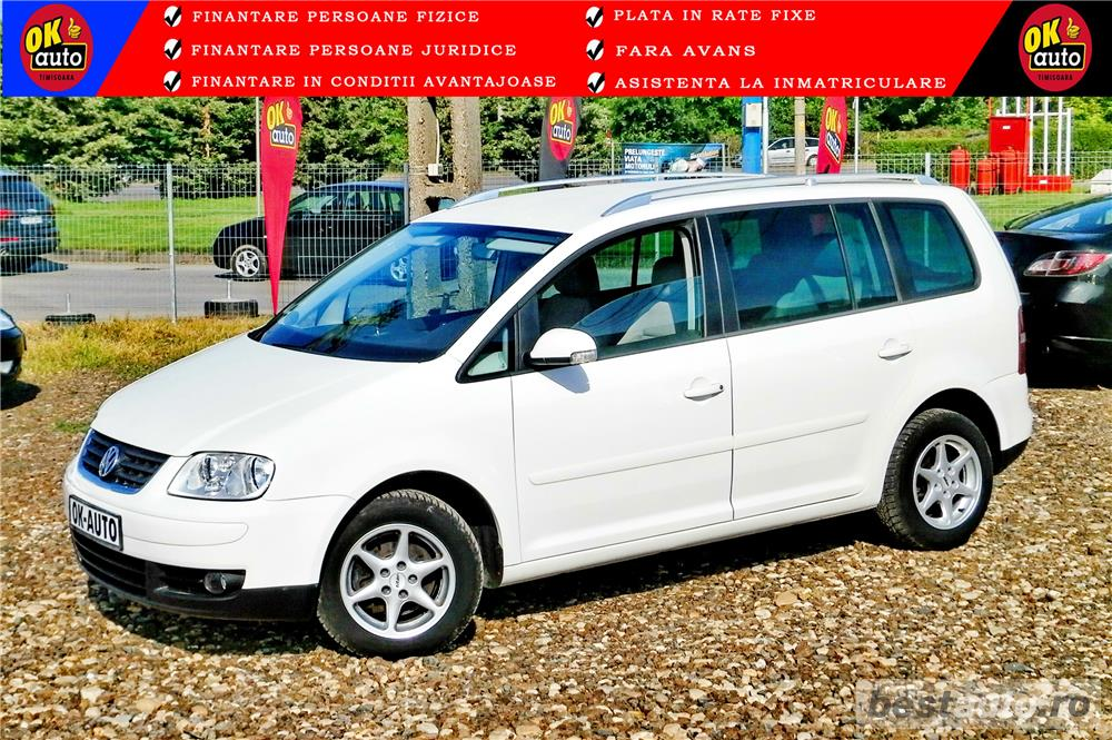 VW TOURAN - 1.6 BENZINA - 116 C.P. - CUTIE AUTOMATA - vanzare in RATE FIXE cu avans 0%.
