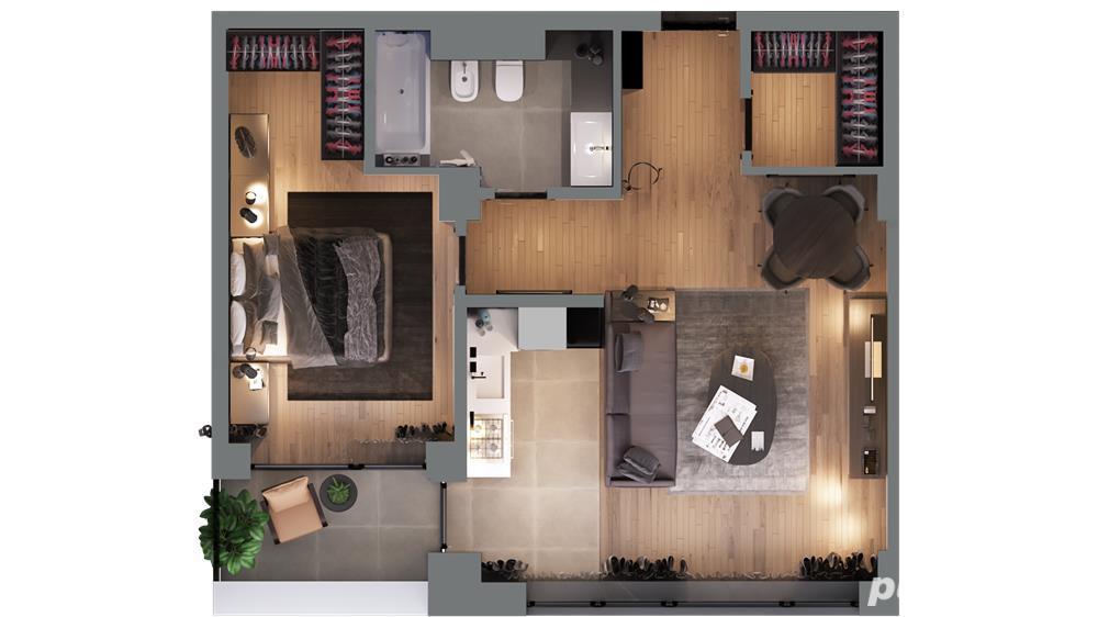 Apartament 2 camere cu logie și dressing în xcity towers