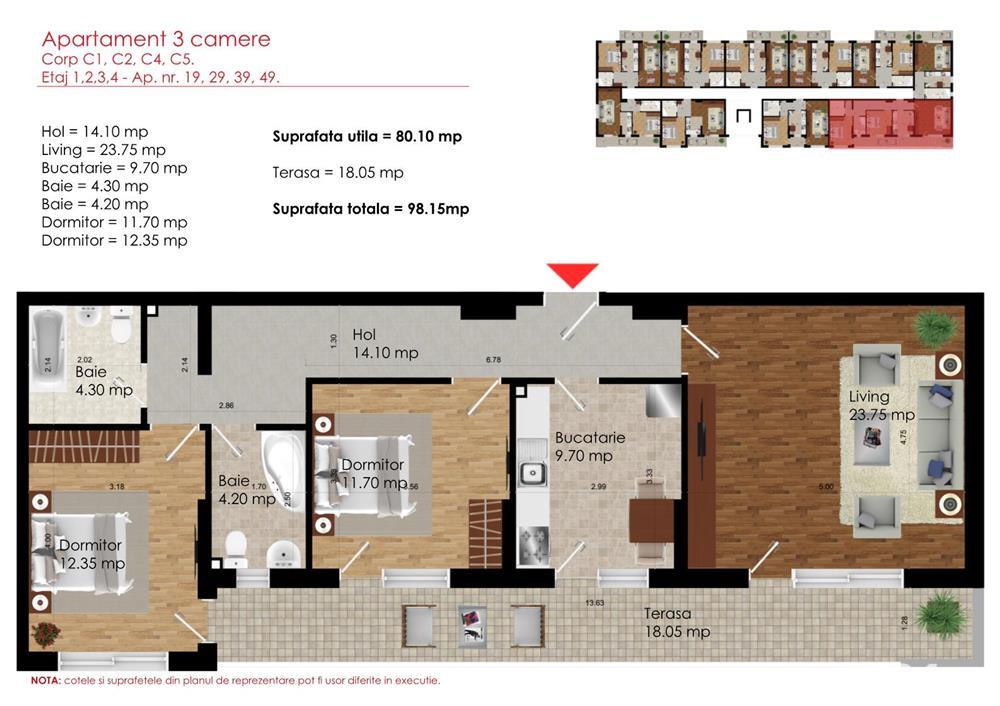 3 camere disponibil metrou Dimitrie Leonida