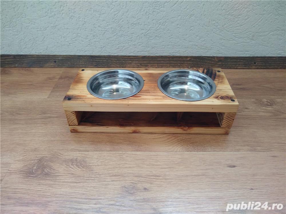 Suport cu 2 boluri pentru mancare/apa, pisici/catei