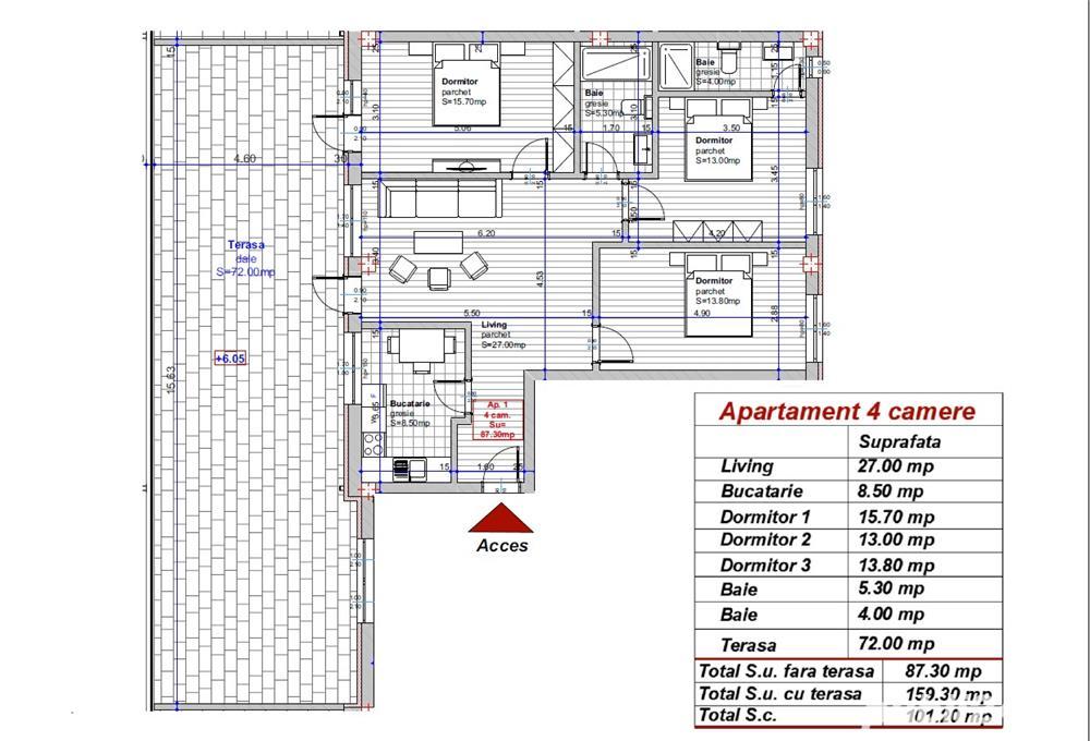Dezvoltator apart tip penthouse 4 cam  88mp+72mp  Turnisor