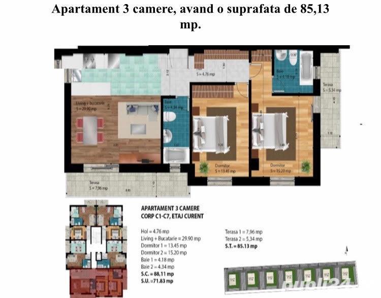 Vanzare apartament 3 camere Militari Chiajna