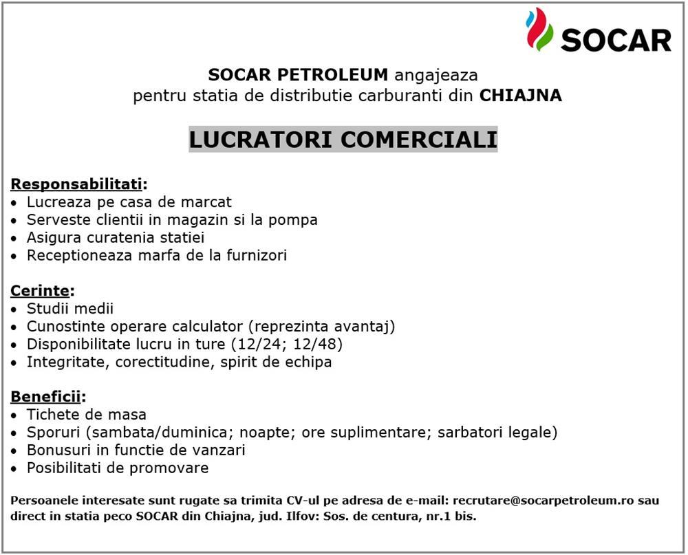 Lucrator comercial SOCAR Petroleum - Chiajna