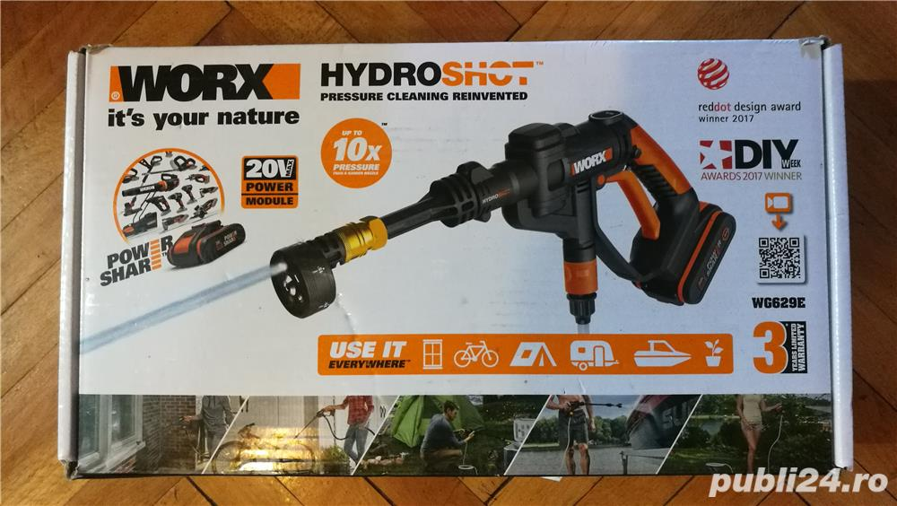 Aparat spălare presiune pe acumulator, Worx HydroShot nou