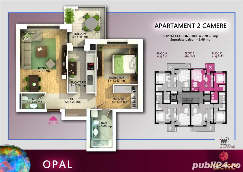 Vanzare apartament 2 camere, 71 mp, Pipera - Onix Park