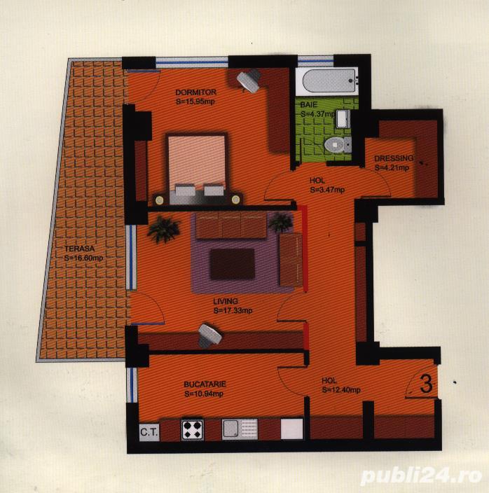 Apartament cu 2 camere+dressing+ loc de parcare