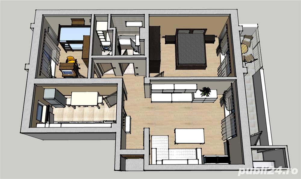 Apartament 3 camere 2 bai mobilat utilat Selimbar