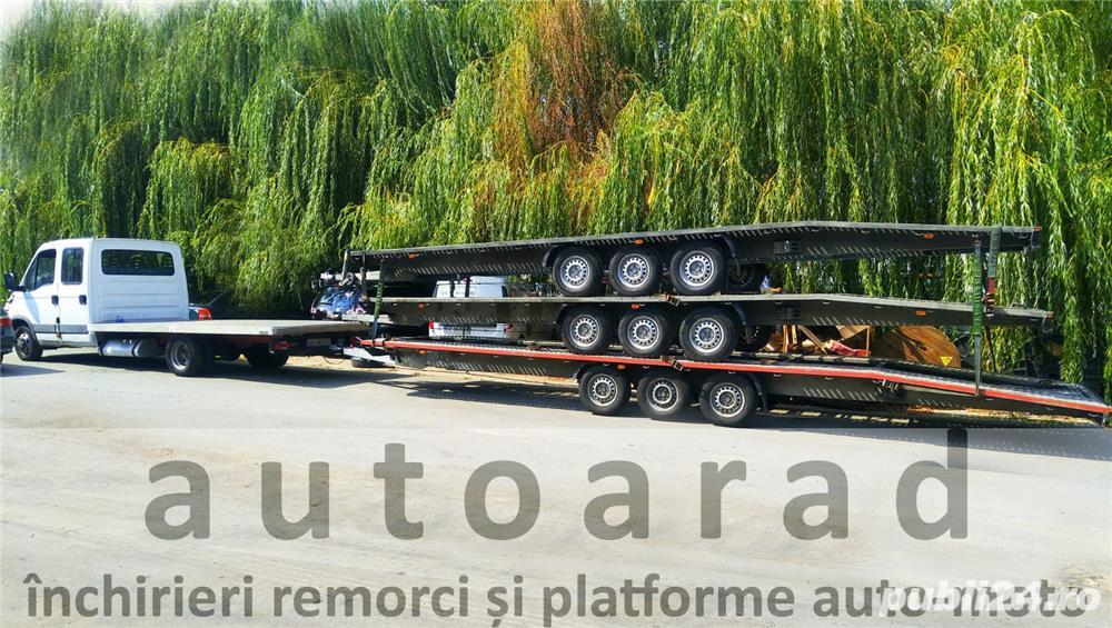 de inchiriat trailer dublu platforma transport doua auto remorci cu prelata auto moto atv