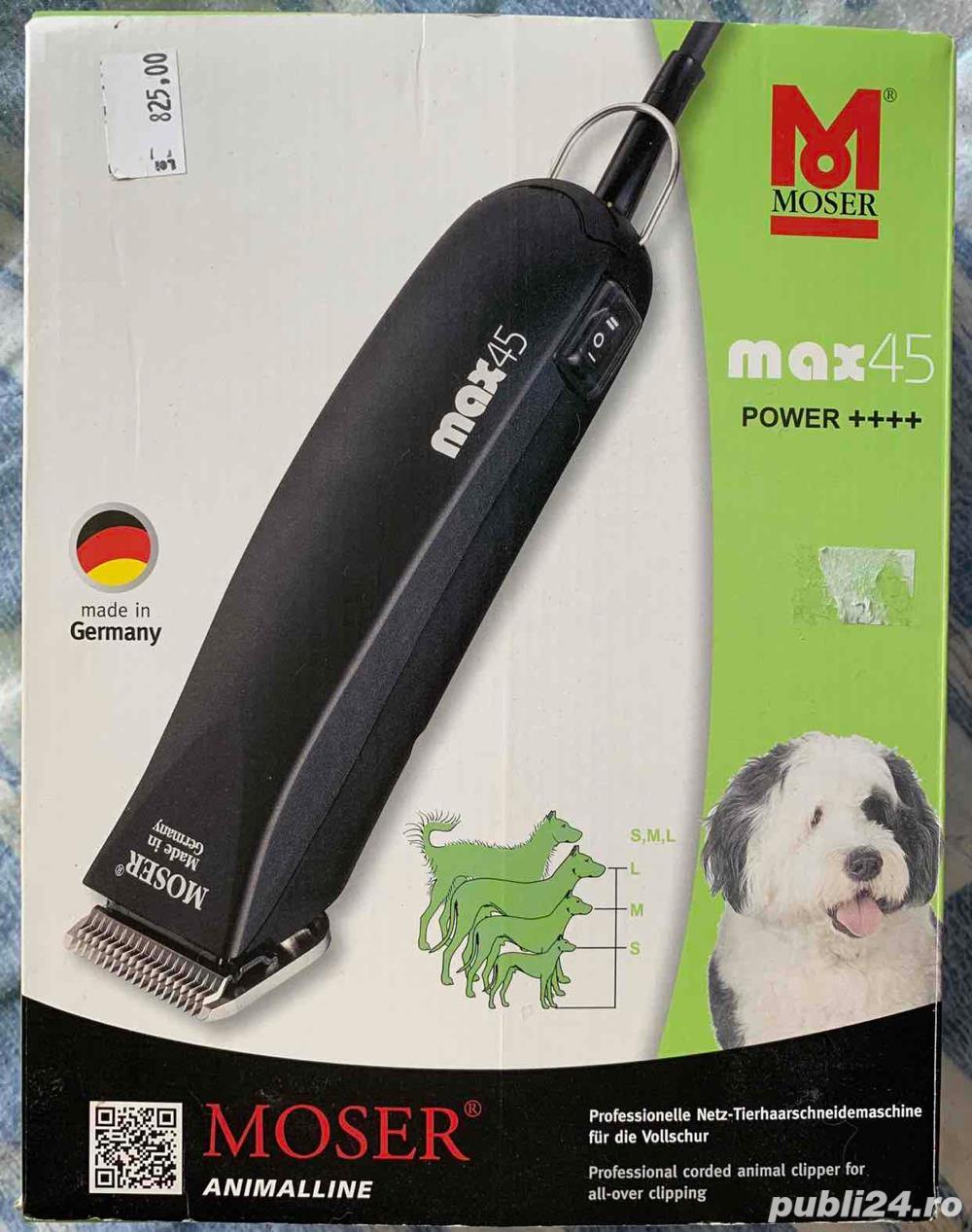 Aparat profesional NOU Moser MAX 45 de tuns câini si pisici cu lama de 3 mm si cu lama de 9 mm