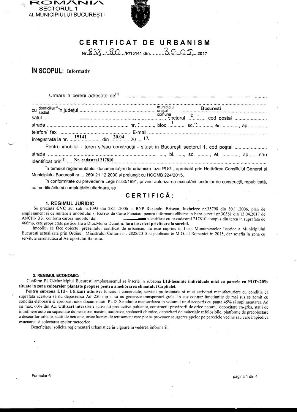 Teren intravilan -Baneasa-Sisesti