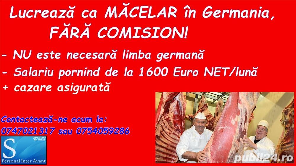 Măcelari fără lb germană, cu 1600 NET + cazare, în Germania, fără comision
