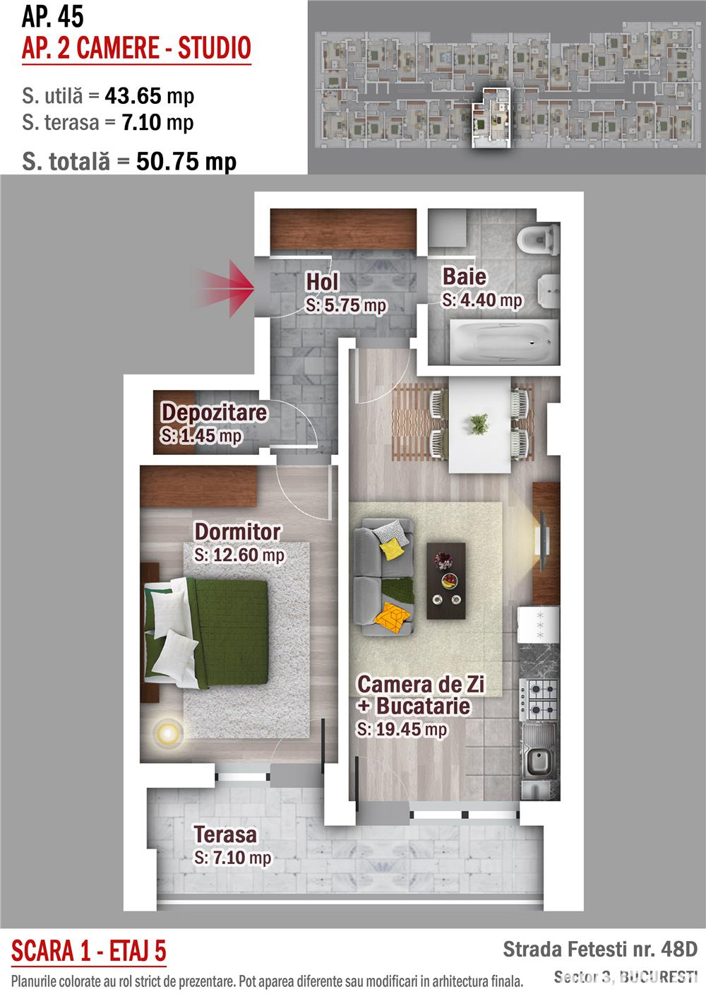 Apartament 2 camere - Metrou 1 Decembrie 1918