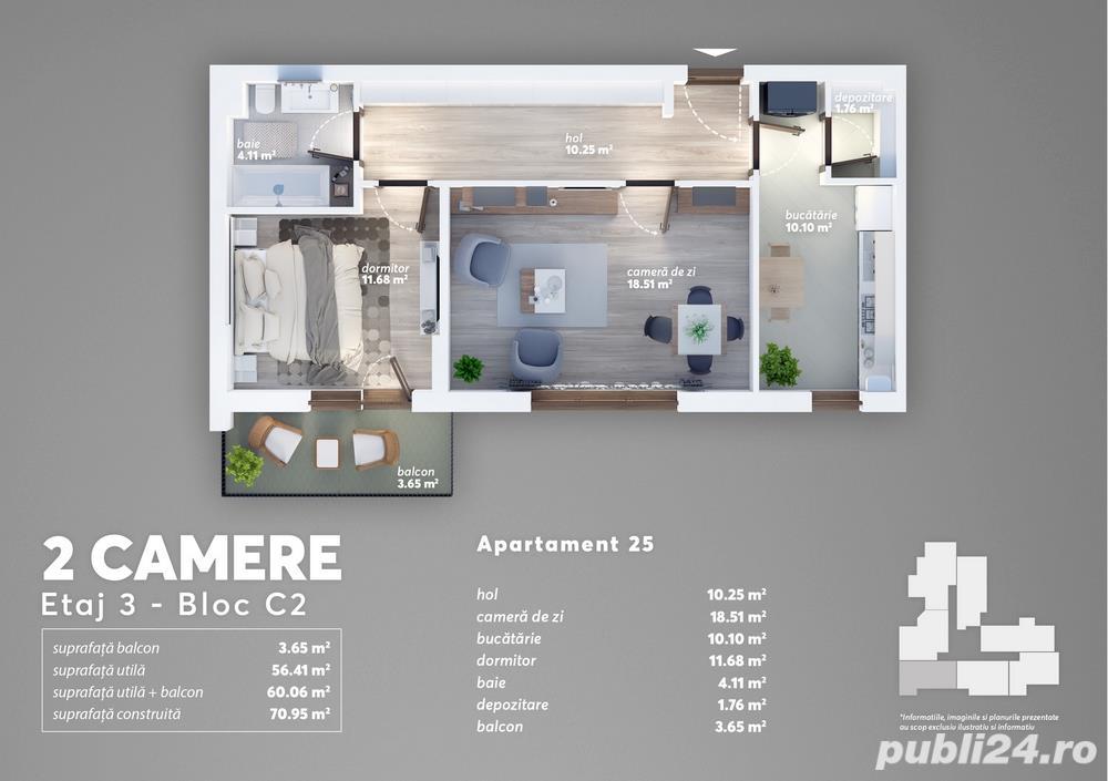 Apartament 2 camere langa Carrefour Grand Arena